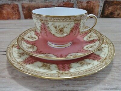 Royal Worcester Trio Cup Saucer side Plate1899 Pastel pink yellow gold