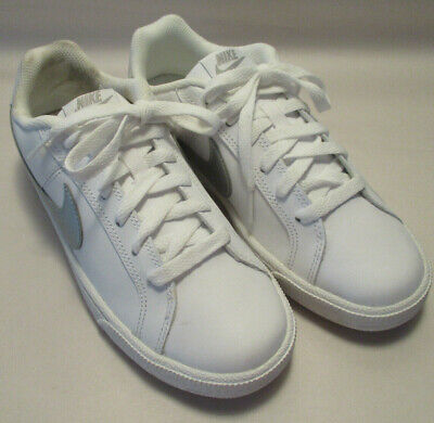 New Nike Court Royale Womens 6.5M White Silver Leather Low Top Sneakers a2c5ca9a4