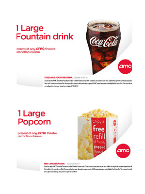 INSTANT DELIVERY - AMC  FREE 1 LARGE Popcorn & 1 LARGE Drink - exp 6/30/19.