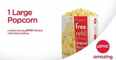 INSTANT DELIVERY - AMC  FREE  LARGE POPCORN - exp 6/30/19.