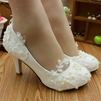 4b0d8d34548b ... crystal Wedding shoes Bridal flats low high heel pump size.  8.88 Buy  It Now 1d 15h. See Details. Ivory White Flat 3 5 8cm Bridal Lace 4-4.5 Size  Shoes