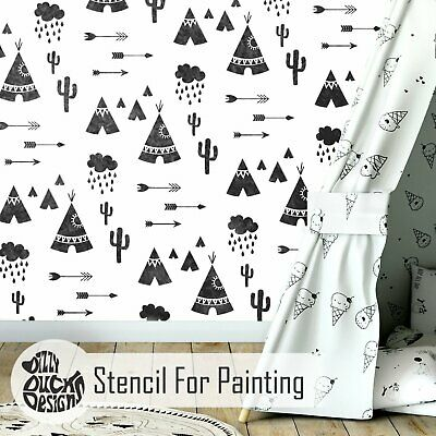 Tipi Village Wall Furniture Stencil For Painting