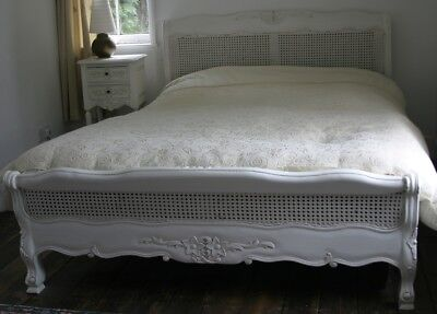 "Mahogany Louis Rattan Style 4' 6"" Double Size Low End French Antique White Bed"