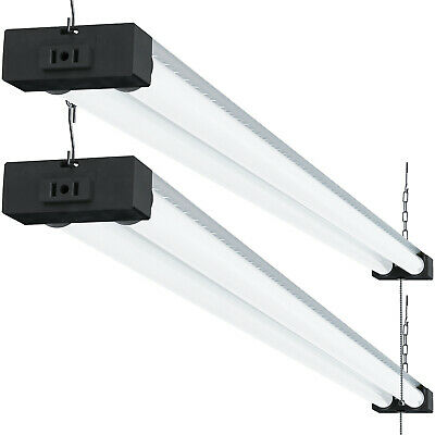 SUNCO 2 PACK 4ft 40W LED Industrial Frosted Shop Light 6000K Deluxe Daylight