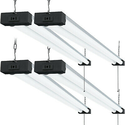 SUNCO 4 PACK 4ft 40W LED Industrial Frosted Shop Light 6000K Deluxe Daylight