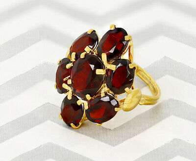 Beautiful 14 Kt Yellow Gold Antique Style Ring with 4 Ct Garnet Stones