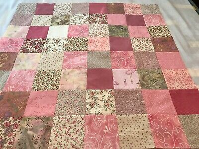 """Handmade Pastel Pink Baby Quilt Top, 36"""" Square, Ready To Finish"""