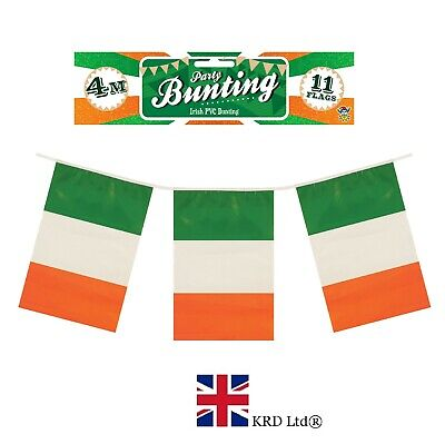 4m ST PATRICK`S Day FLAG BUNTING Ireland Irish Party Decoration Rugby Flags UK