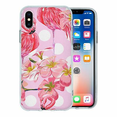 Pour Apple Iphone X Étui en Silicone Flamant Rose Tropical Motif - S5640