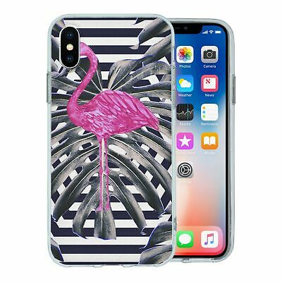 Pour Apple Iphone X Étui en Silicone Flamant Rose Tropical Motif - S5632