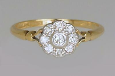 Antique 18ct Gold Diamond Cluster Ring English Edwardian Daisy Ring circa 1910