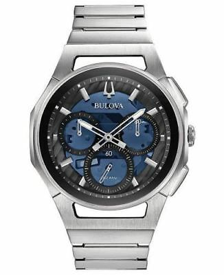New Bulova Men's Curv 96A205 Chronograph 44mm Stainless Steel Blue Dial Watch