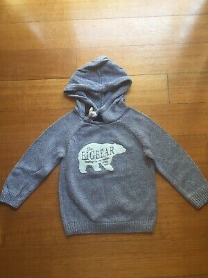 Cute Boys Zara Grey Knit Bear Print Hoodie Winter Jumper Size 4 - 5