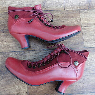 ce95857d2c4c Size Uk 6 Hush Puppies Vivianna Red Leather   Suede Victorian Steampunk  Boots