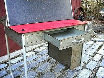 Vintage! Metal Childs School Desk With Lift-Up Blackboard And Front Drawer Look!
