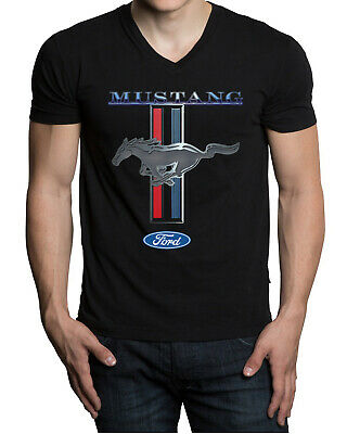 Men's Ford Mustang Black V-Neck Tee Shirt GT350 500 Shelby Cobra Muscle car Race