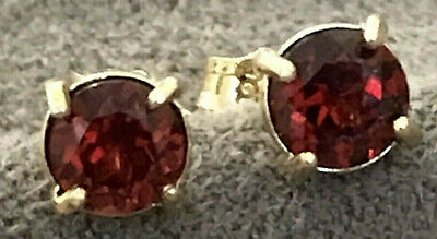 NATURAL GARNET EARRINGS. SET IN 18k GOLD PLATED 5.5mm ROUND  UNTREATED