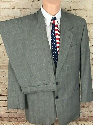 ENZO TOVAREH Gray Glen Plaid 2 Button Pleat Front Wool Suit Sz 42 Pants 32X29