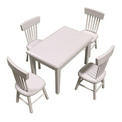 1/12 Scale Dollhouse Miniature Furniture Dining Table and 4 Pcs Chairs