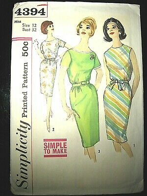 Vtg 1960s Simplicity Sewing Pattern 4394 Size 12 Misses One Piece Dress Belted