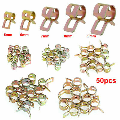 50Pcs Spring Clip Fuel Line Hose Water/Air Tube Clamps Fastener 5/6/7/8/9mm