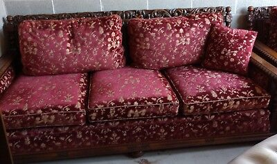 RARE Antique French Carved Oak Renaissance Barley Twist Sofa & Chair Upholstered