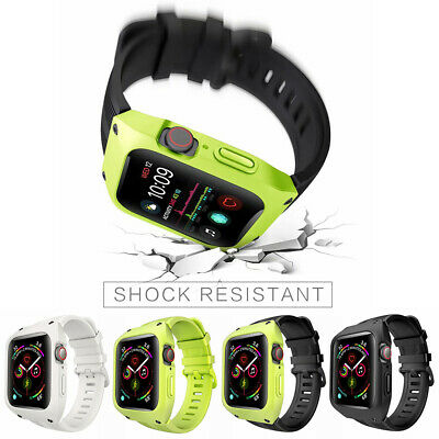 For Apple Watch iWatch 4 44 360° Waterproof Silicone Sport Band With Armor Case