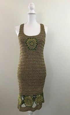 8921cb98 Anthropologie Knitted Knotted Dress Size S Multicolored Boho Crochet EUC  Womens