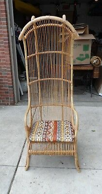 Vintage Canopy Bamboo Rattan Chair Dome Porter Balloon Hooded
