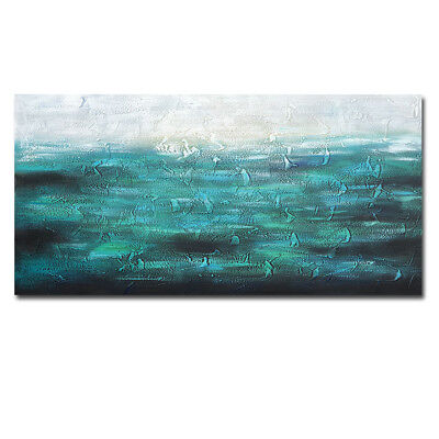 Framed Hand Painted Seascape Canvas Abstract Oil Painting Wall Art Home Decor