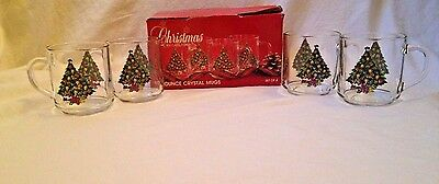 4 Carlton Glass 10 oz Crystal CHRISTMAS Tree Mugs Cups