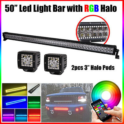 "RGB Halo 50inch 288W Led Light Bar Chasing + 2x 3"" Pods Off-road + Free Wiring"