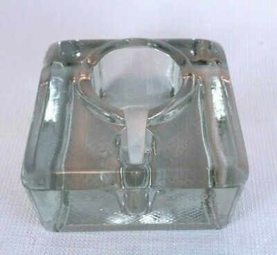 Vintage Glass Ink Well made in England Stamped Paper Weight