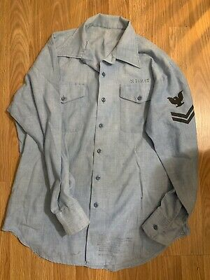 Rare Vintage Wwii Ww2 Us Navy Usn Chambray Work Shirt Named / Rank Patch Ship