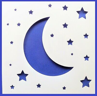 Flexible Stencil *STARS AND BAUBLE* Christmas Tree Card Making 14cm x 14cm