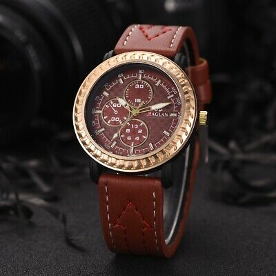 Fashion Men Sport Watches Stainless Steel Analog Quartz Leather Band Wrist Watch