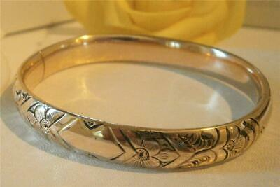 Antique Victorian C1900 12Ct Gold Gf Forget-Me-Not Flowers Domed Hinged Bracelet