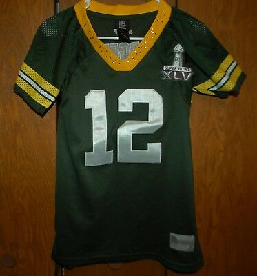 8d543e5ad Reebok AARON RODGERS Youth Green Bay Packers SUPERBOWL Jersey XL Green  12  SEWN