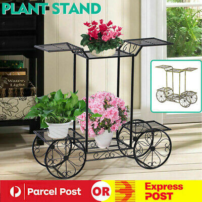 Outdoor Indoor 4 Wheeler Metal Pot Plant Stand Garden Planter Corner Shelves OZ
