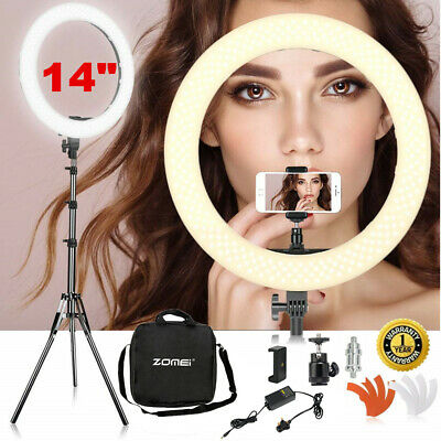 "18"" Dimmable Studio LED Ring Light Flashes Kit + 2M Stand For Photo Video Camera"