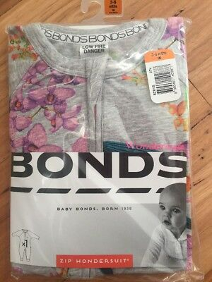Baby Bonds Zip Wondersuit Brand New In Pack Size 00 Girl Orchids 3 - 6 Months
