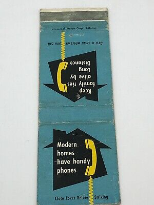 Southern Bell Telephone And Telegraph Company Vintage Matchbook Cover