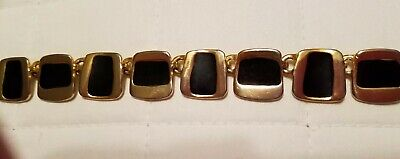 Black and gold tone square linked 80s Vintage necklace with toggle clasp.heavy