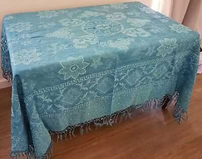 Vintage circa 50s Shades of BLUE Woven FLORAL Fringed TASSEL Edge TABLECLOTH