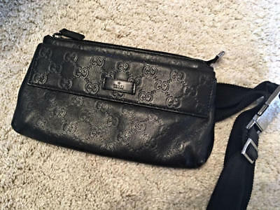 4b29a02cf GUCCI Guccissima Waist Pouch Bum Belt Bag Fanny Pack Black Leather Used Ex++