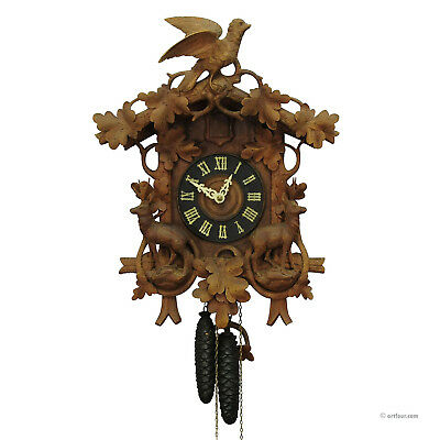 black forest carved wood cuckoo clock with deers