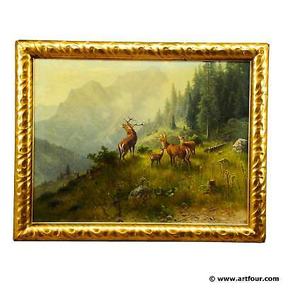Ludwig Skell - Stag and Does in the Forest