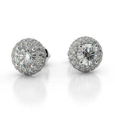 Promise 2.50 Ct H Si2 Round Cut Diamond Halo Stud Earrings 14 K White Gold
