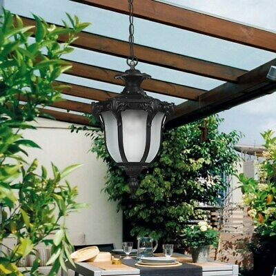 Vintage Style Frosted Glass Metal Lantern Outdoor Garden Pendant Lights Patio