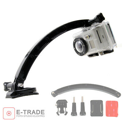 Helmet Extension Self Photo Arm Kit + Curved Adhesive Mount For GoPro Hero 7 6 5